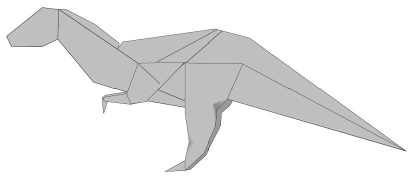 Acrocanthosaurus de papiroflexia CIBERCUENTOS