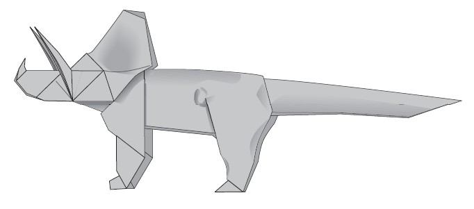 Triceratops de papiroflexia CIBERCUENTOS
