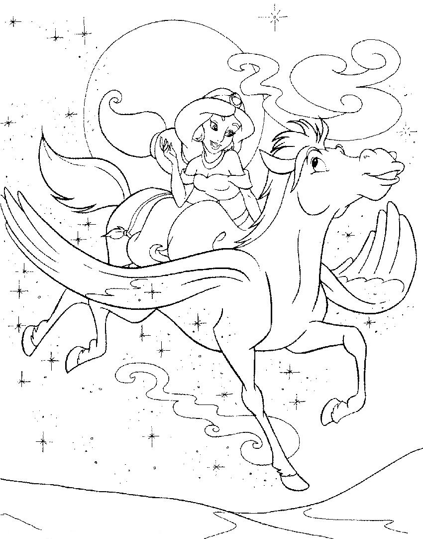 flying pony coloring pages | Colorear Aladino cinco | CIBERCUENTOS