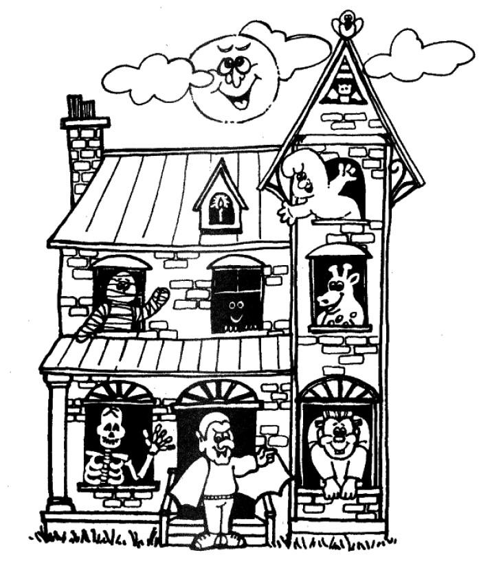 Bonito Casa Embrujada De Halloween Para Colorear Colección de ...