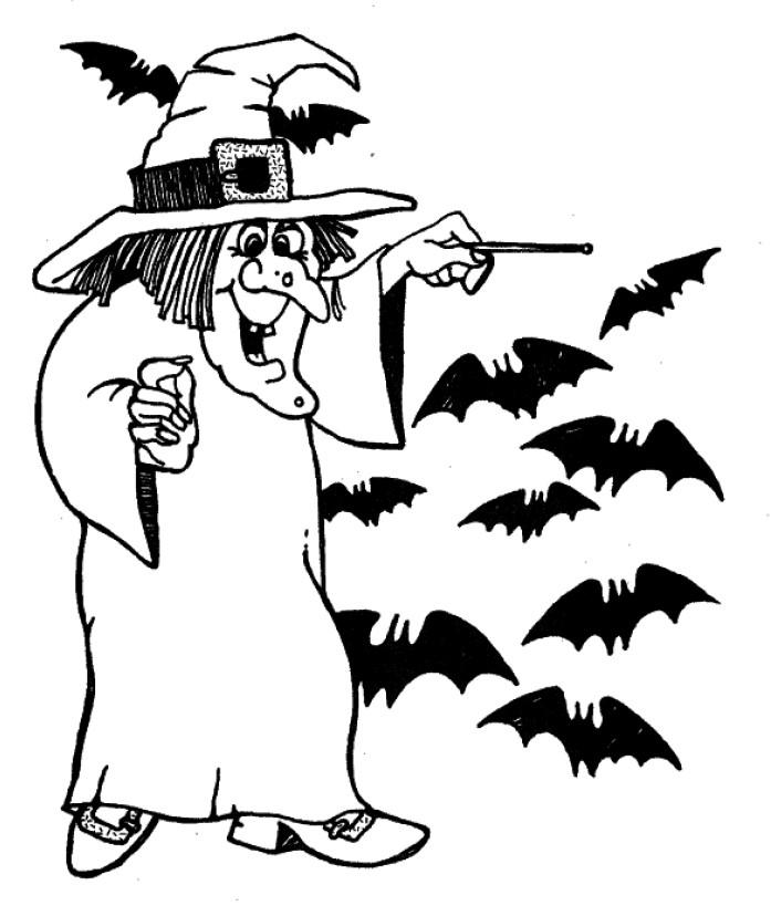 Bruja y murciélagos , Feliz Halloween , Colorea